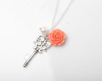 Coral Bridesmaid necklace, Vintage Key Necklace, key and rose necklace, bridesmaid gift, coral wedding necklace, key jewelry, coral jewelry