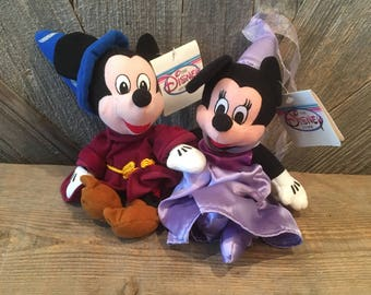 2dd06c6e447 Vintage Mickey Mouse Minnie Mouse Beanie Babies  Wizard and Princess  Fantasia Mickey 8 in Mini Bean Bag  The Disney Store Exclusive Stuffed