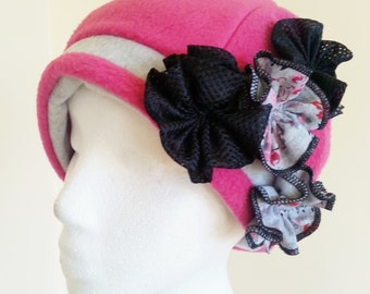 Pink and Gray Womens Fleece Hat with Flowers