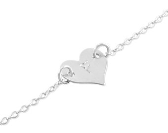 Silver Heart Baby Bracelet, sterling silver, engraved letter, stamp, Little Girls initial bracelets birthday gift, 1st birthday FLORA