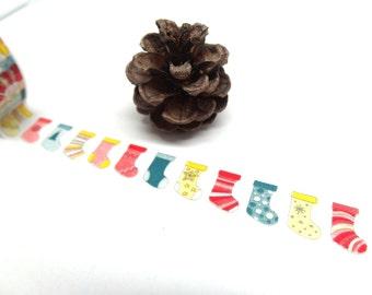 Christmas Stocking Washi Tape - Colorful Stocking Washi Tape