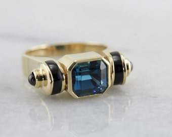 RESERVED - LAYAWAY for LR - Unusual London Blue Topaz Statement Ring with Onyx and Garnet Accents Y9HT5C-D