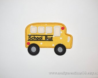 """Embroidered Iron On Applique  """"School Bus"""""""