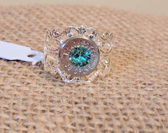 Adjustable Silver Filigree Bullet Ring with Light Turquoise Swarovski Crystal