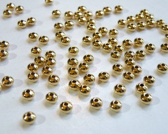 50 rondelle saucer spacer beads shiny gold plated brass 4.5x3mm 2962MB