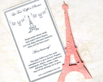 10 Plantable French Baby Shower Favors - Seed Paper Eiffel Towers - Birthday Party Favors - Paris Theme with Optional Personalized Cards