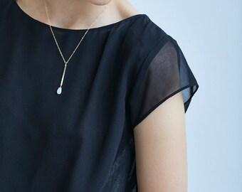 Aquamarine Bar Gold Necklace
