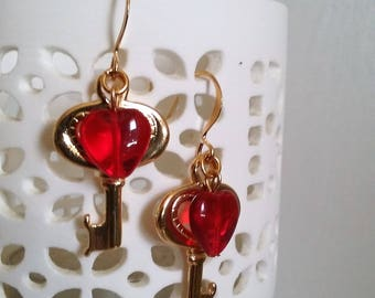Red Heart, Key, Earrings, Valentine's Day, Gifts, Under 25.00,