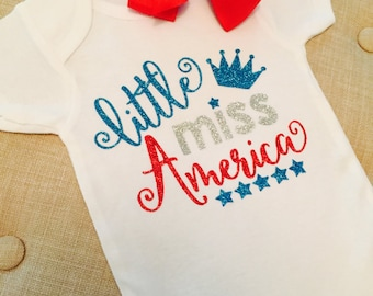Little Miss America Onesie, Little Miss America 4th of July Outfit