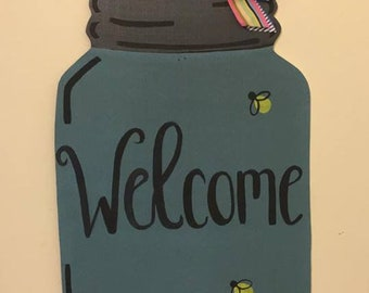 Painted Mason Jar Door Hanger