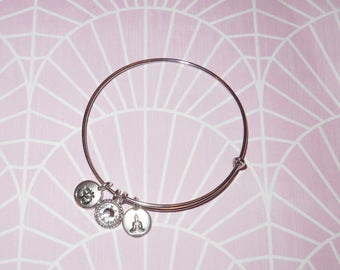 Charm Bangle 'Bhudda & OM' - Antique Silver - Crystal - Made with Swarovski and Tierracast