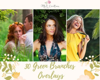 30 Green Branch Overlays, Photoshop Overlays, green leaves, Grass lawn overlay, spring summer  Overlay, trees overlays, Nature overlays