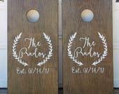 Custom Cornhole Boards ONLY - Bean Bag Toss - Monogram Wreath