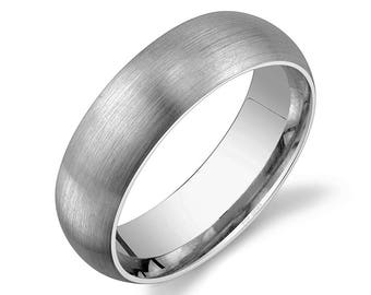 Platinum 950 Band (6mm) / PLAIN / Matte Brushed Rounded Dome + Comfort Fit / Men's Women's Wedding Ring Simple PT950