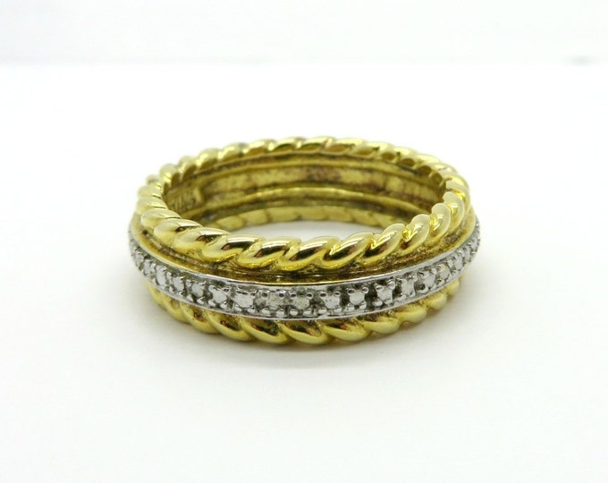 Silver Two Tone Wedding Ring, Vintage Gold Plated Sterling Silver Ring, Size 8