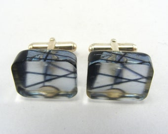 Mens Blue Cufflinks Handmade, Abstract Geometric Pattern, Blue Black Acrylic Perspex and Sterling Silver