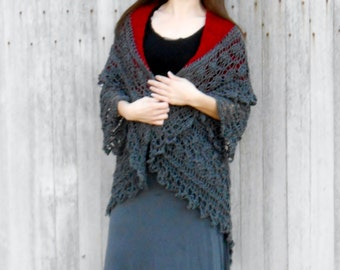 knit sweater, shrug, duster, shawl, bride gift, wedding gift, burgundy, charcoal lace, valentines gift, womens fashion wrap, gift for her