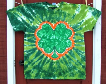 Shamrock 4 Leaf Clover St. Patrick's Day Tie Dye T-Shirt - Green and Orange - Made To Order - Adult Sizes S, M, L, XL, 2XL
