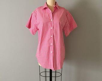 Andrew McMullan pink gingham shirt | weatern short sleeve shirt | button down cotton blouse