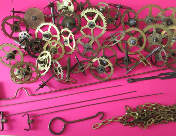 40 Larger Antique Clock Parts & Gears for your Clock Projects, Steampunk Art, Metalworking and Etc...