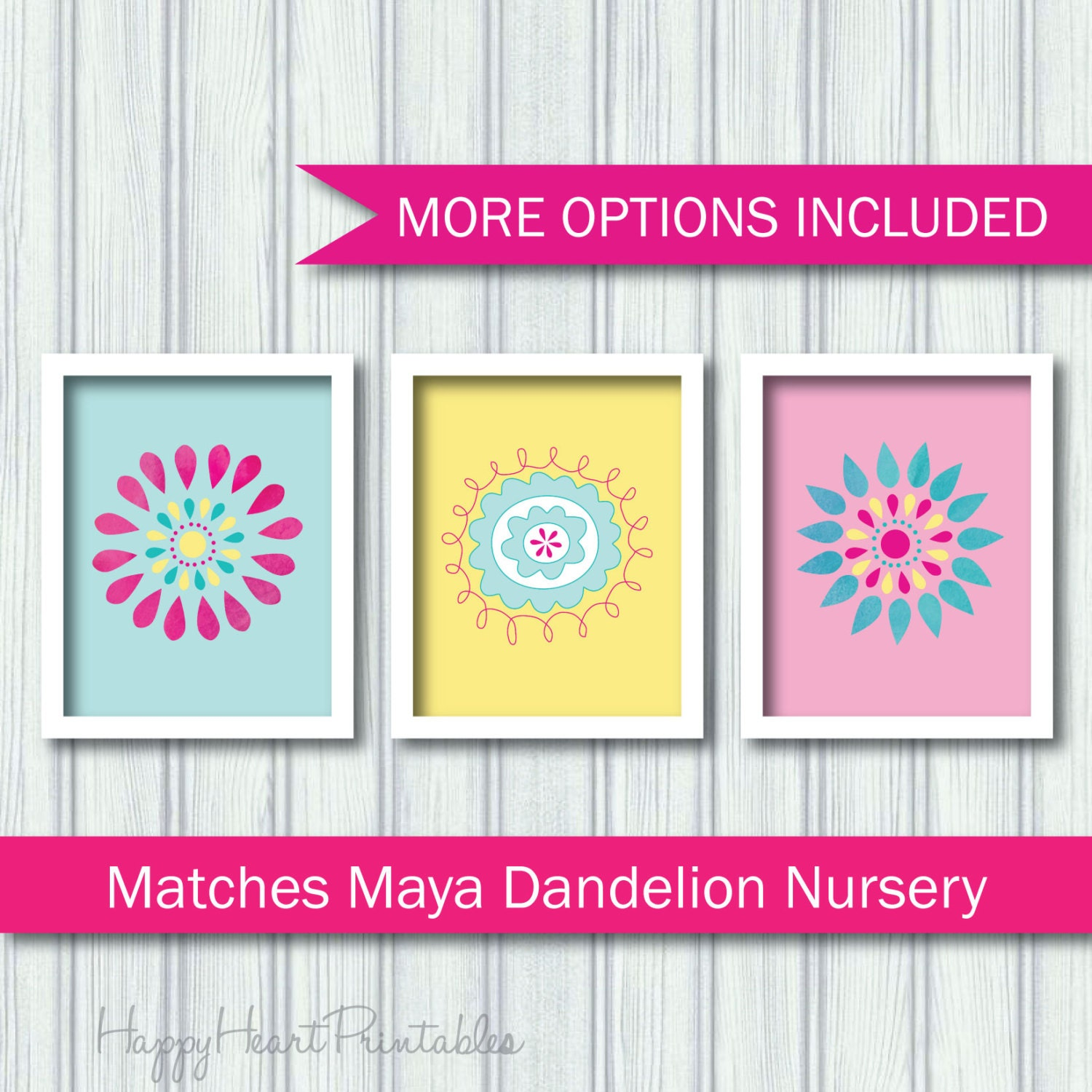Nursery Flower Printable Maya Dandelion Nursery Print Set