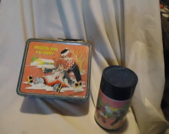 Vintage 1973 Raggedy Ann and Andy Metal Lunch Box With Thermos by Aladdin, Lunchkit, collectable