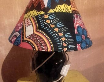 Lamp shade with blue wax chic akwaba creations