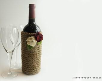 CROCHET PATTERN - Jute Wine Bottle Sleeve - Instant Download (PDF)