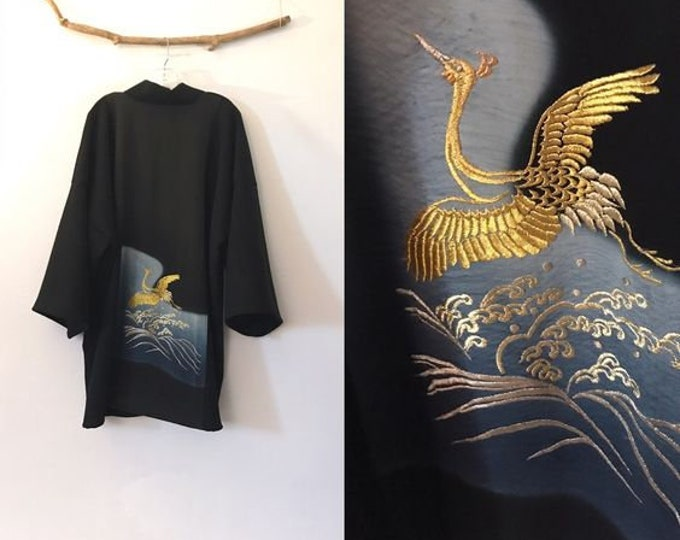 Collectable black crepe wool haori inspired jacket with a gold thread flying crane kimono silk panel/ free size /ready to wear/ wearable art