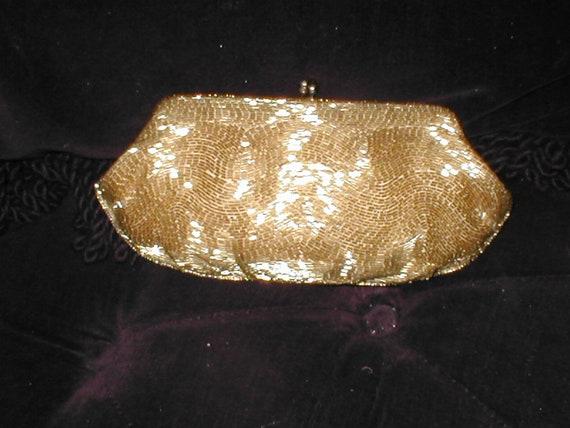 469c160dbd28 Vintage MAGID Shimmering GOLD Beaded Evening Clutch Purse