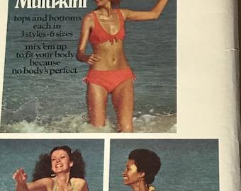 Vintage Butterick 6674 Sewing Pattern Bikini Bathing Suit Swimwear Swimsuit size 6-16 Uncut