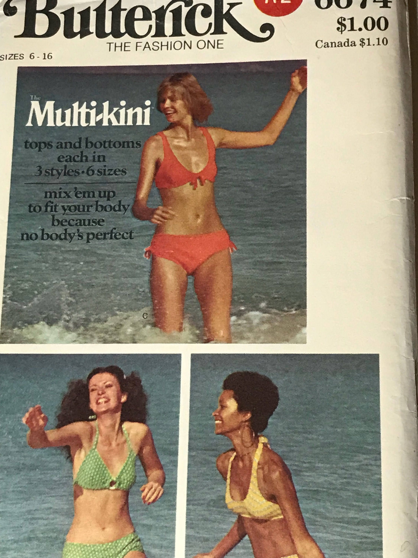 Vintage Butterick 6674 Nähen Muster Bikini Badeanzug Bademode