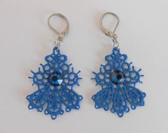 Small blue cobalt lace earrings and steel stainless