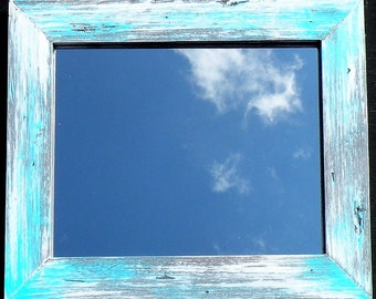 White Washed Gray Mirror With Turquoise Accents, Hand Painted Rustic Pine Wood Framed Aqua White Washed Shabby Chic Mirror, Distressed Frame