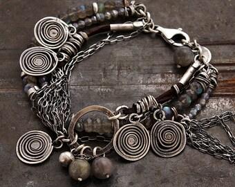 raw sterling silver with labradorite bracelet • charms  layered bracelet • oxidised silver • hippie boho bracelet • leather bracelet