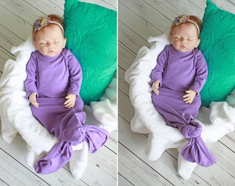 Knotted Baby Gown, CUSTOM, Mermaid Baby Gown, Infant Gown, Newborn Gown, Made to Order, Mermaid Gown, Baby Sleeper, Knot Baby Gown Sleeper