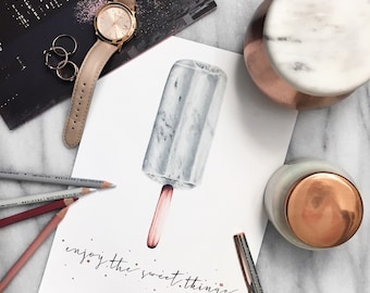 Marble and rose gold Popsicle print - enjoy the sweet things