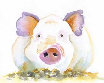 pig art pig painting, pig print pig watercolor canvas print kitchen art for her for baby pink pig pig canvas children room, for girl, child,