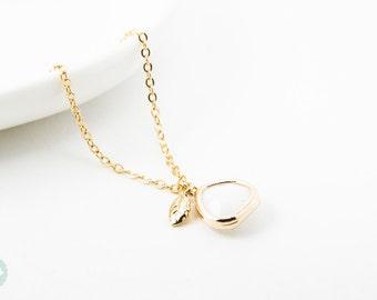 Birthstone necklace,leaf necklace, leaf charm, birthstone, gold necklace, cute necklace, personalized necklace, bridesmaids necklace