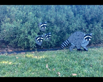 Outdoor yard ornament, raccoon, animal sculpture, garden, tile mosaic art, yard art, country living
