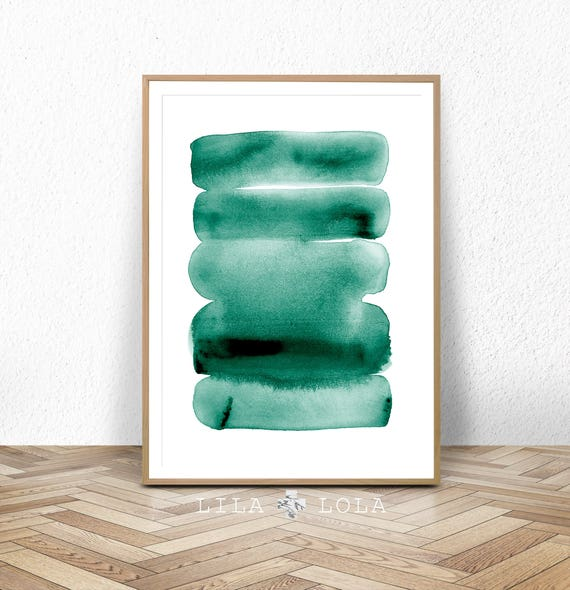 Watercolour Wall Art, Green Print, Abstract Painting, Printable Digital Download, Teal Green Decor, Large Poster, Brush Strokes, Ink