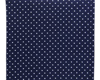 Navy blue dots pocket square, Mens white polka dot cotton handkerchief, rustic wedding groom gift