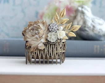 Bridal Hair Comb, Wedding Hair Accessory, Ivory Wedding Rose Flower Comb, Bridal Hair Comb  Rustic Gold Wedding, Ivory Flower Collage Comb
