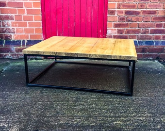 HORN - Handmade Reclaimed Light Wax Finished Coffee Table with box Steel legs. Custom Made To Order.