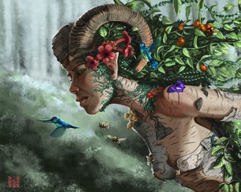 Forest Nymph -digital art print on various materials and available in various sizes