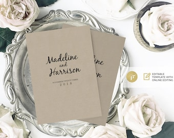 Wedding Program Template,wedding ceremony program | Instant Download Printable | DIY | A5 for MORE then 4 pages booklet