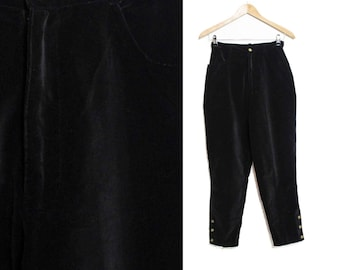 Black Velvet trousers, High waisted trousers, Tapered pants , High waist pants, Gold buttons, Velveteen pants, Womens Vintage / XS Small W25