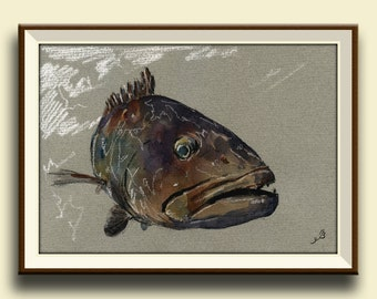 PRINT-Grouper  - fish watercolor painting print - game fishing decor- fish art wall decal nursery-sport fishing - Art Print by Juan Bosco