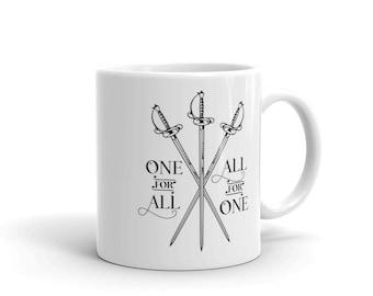 Three Musketeers Mug - One for All, All for One - Crossed Swords - Coffee - Tea