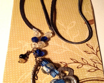 Beautiful Black Leather Necklace With Multi  Denim Beads And Silver Hearts
